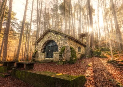 Small chapel in forest at Vizzavona in Corsica