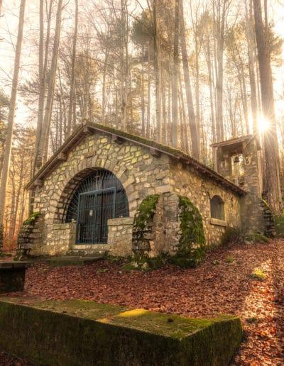 Small chapel in forest at Vizzavona in Corsica